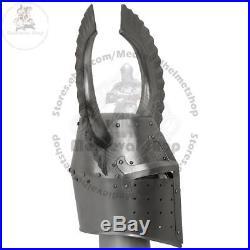 Medieval Templar Crusader Knight Grandmaster Helmet With Metal Horn 18g Gift