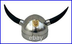 Medieval greek knight viking chrome helmet with horn collectible with stand gift