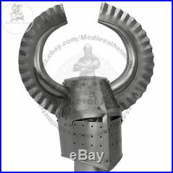 Medieval helmet Templar crusader knight with metal horn helloween gift item