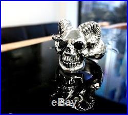 Men's Custom Silver Skull Black Diamond Ring With Ram Horns By Sacred Angels