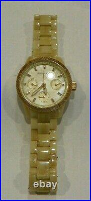 Michael Kors watch in box with tags MK5400 Horn Acetate Mother of Pearl Crystals