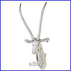 Modern Wall Deer Sculpture RENAR with curved horns. Silvered Nickel