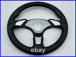Momo X-Avion Black Leather 350mm Steering Wheel With Silver Horn Pad 18c