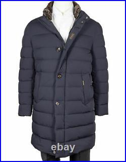Moorer Quilted Coat Finest Down IN Dark Blue With Detachable Interior Collar