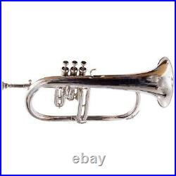 NEW FLUGLE HORN 3 VALVE Bb PITCH SILVER WITH FREE HARD CASE & MOUTHPIECE AA-257