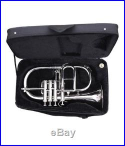 NEW SILVER! Bb/F 4 VALVE FLUGEL HORN WITH FREE CASE+M/PEXQUISITE OSWAL