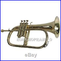 NEW SILVER! Bb FLAT 3 VALVE FLUGEL HORN WITH FREE HARD CASE+M/P