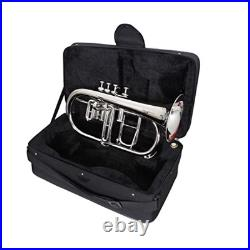 NICKEL PLATED Bb FLAT 4 VALVE FLUGEL HORN With HARD CASE and MOUTHPIECE NEW