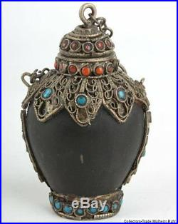 Nepal 20. Jh A Nepalese Horn Snuff Bottle With Inlaid Silver Mounts Snuffbox