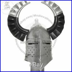 New 18 Medieval Templar Crusader Knight Armor Great Helmet With Metal Horn Gift