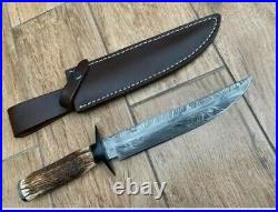 New Custom Made Damascus Steel Hunting Bowie knife with Leather Sheath