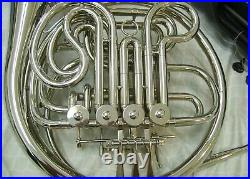 New Double French Horn, Silver, With Hard Case And Mouthpiece
