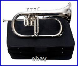 New Flugel Horn 3 Valve Nickel Bb Pitch with Hard Case & Mouthpiece By M. J
