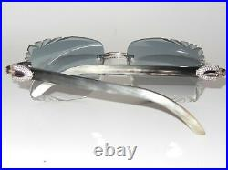 New Micropaved Iced Out Raw Genuine Horn Buffs with 58 mm diamond cut Medallion