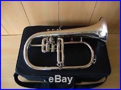 New Silver Bb Flugel HornSAI MUSICAL! With Free Hard Case+Mouthpiece