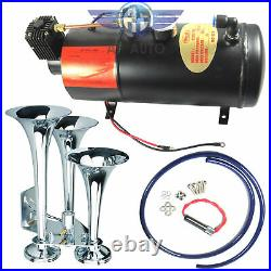 New Triple Trumpet Chrome Air Horn With 150 PSI 3 Liter 12V Air Compressor