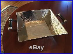 Nickel Silver Hammered Serving Bowl with Horn Handles