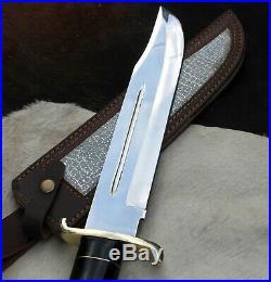 O-k 18 D-2 Tool Steel High Polish Bowie Knife With Buffalo Horn Handle & Groov