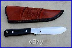O-k Beautiful Handmade High Mirror Polish Hunting Knife With Buffalo Horn Handle