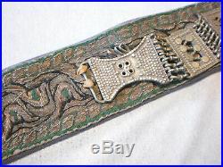 Old Jambiya Yemeni Khanjar Dagger Goat Horn Handle with Belt Silver Embroidery