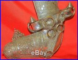Old Rare Islamic Omani Silver Dagger Jambiya Khanjar with Knife, Horn Handle