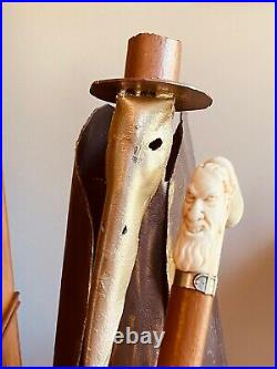 One Wicked Victorian Walking Cane, Hand Carved Devil With Horns, Silver Collar