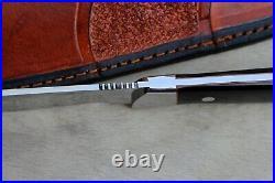 Ostra 440-c Steel High Mirror Polish Hunting Knife With Buffalo Horn Handle