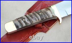 Ostra High Carbon Steel Handmade Bush Craft Camping Knife With Ram Horn Handleo
