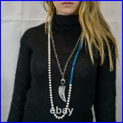 Pearl Necklace With Birthstone And Diamond Horn Charm Pendant SA