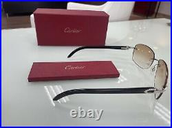 Pre Own Cartier Black Buffalo Horn Silver Sunglasses 58/17/140 With Pre