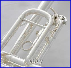 Prof Brand new Silver Plated C Key Trumpet Horn With Case Mouthpiece