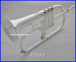 Prof. Quality Silver Plate Bb Flugelhorn Flugel Horn MONEL valve with Trigger