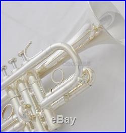 Professional Custom Series Eb Cornet Silver Horn Monel Valve With Case
