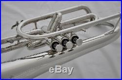 Professional F key SILVER Marching Mellophone Horn with mouthpiece 10.4 bell