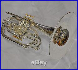 Professional F key Silver Nickel Marching Mellophone Horn with new case