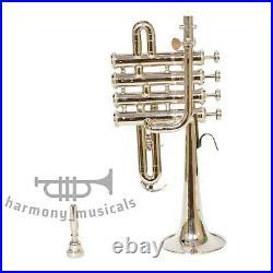 Professional Piccolo Trumpet Bb Horn 4 Piston with Mp & Case Fast Ship