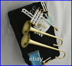 Professional Silver Eb D Trumpet Horn Exchange double Bell With Case