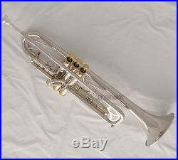 Professional Silver Nickel Plated Trumpet Bb Horn Monel Valves With Case 2 Mouth