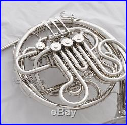 Professional Silver Nickel Plating Double French Horn F/Bb 4 Key With Case