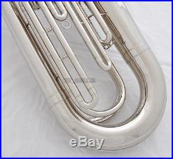 Professional Silver Nickel Plating Tuba Horn Monel Valve Free 2-Mouth With Case