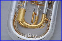Professional Silver Plated Bb Compensating system Euphonium horn with case