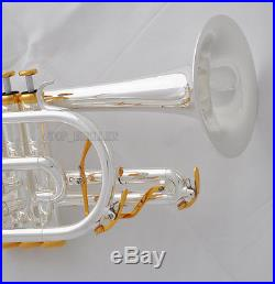 Professional Silver Plated Cornet horn B-flat Double triggers Trumpet With Case