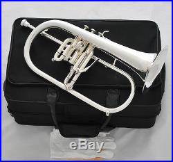 Professional Silver Plated Flugelhorn Monel Valves New Water key Horn With Case