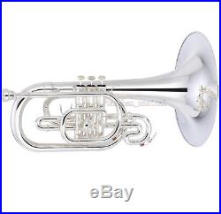Professional Silver Plated Marching Mellophone Horn F Key 10.6'' Bell With Case