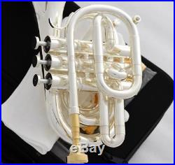 Professional Silver Plated Pocket Trumpet Bb Horn Monel valves With Case