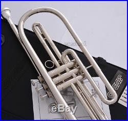Professional Silver nickel Bb Bass Trumpet 3 Piston Vavles JINBAO Horn With Case