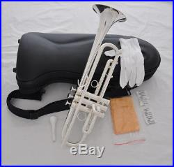 Professional Silver plate Bb Trumpet Horn 5''Bell Monel Valve with Luxary Case