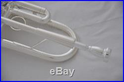 Professional Silver plated Bb Heavy Trumpet horn Monel valves With New Case