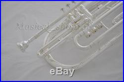 Professional Silver plated Bb key Marching Trombone horn With Case mouthpiece