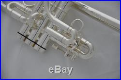 Professional Silver plated Eb/D Trumpet Horn Monel valves with NEW case